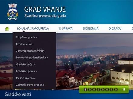 Skrinšot internet prezentacije Gradske uprave Vranje